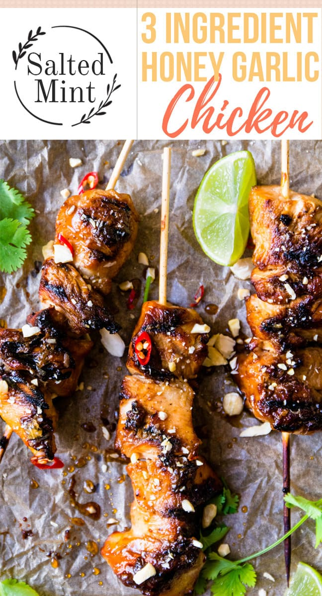 This easy honey garlic chicken recipe is only 3 ingredients and 20 minutes. Grilled to perfection these are perfect to BBQ for a quick weeknight dinner. #honeygarlicchicken #chickendinner #grilling