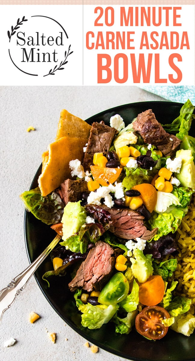This Carne Asada bowl is a simple grilled beef recipe that's healthy and perfect for a quick dinner. It's a simple authentic dish that's healthy and packed with flavor. #carneasada #easyrecipe #grilling