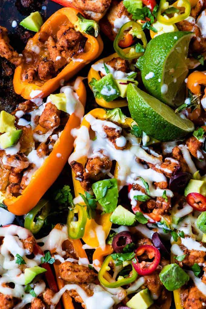 Fully Loaded Spicy Turkey Nachos Recipe. Weight Watchers friendly nachos with lean, cajun spiced turkey and all the toppings! https://saltedmint.com