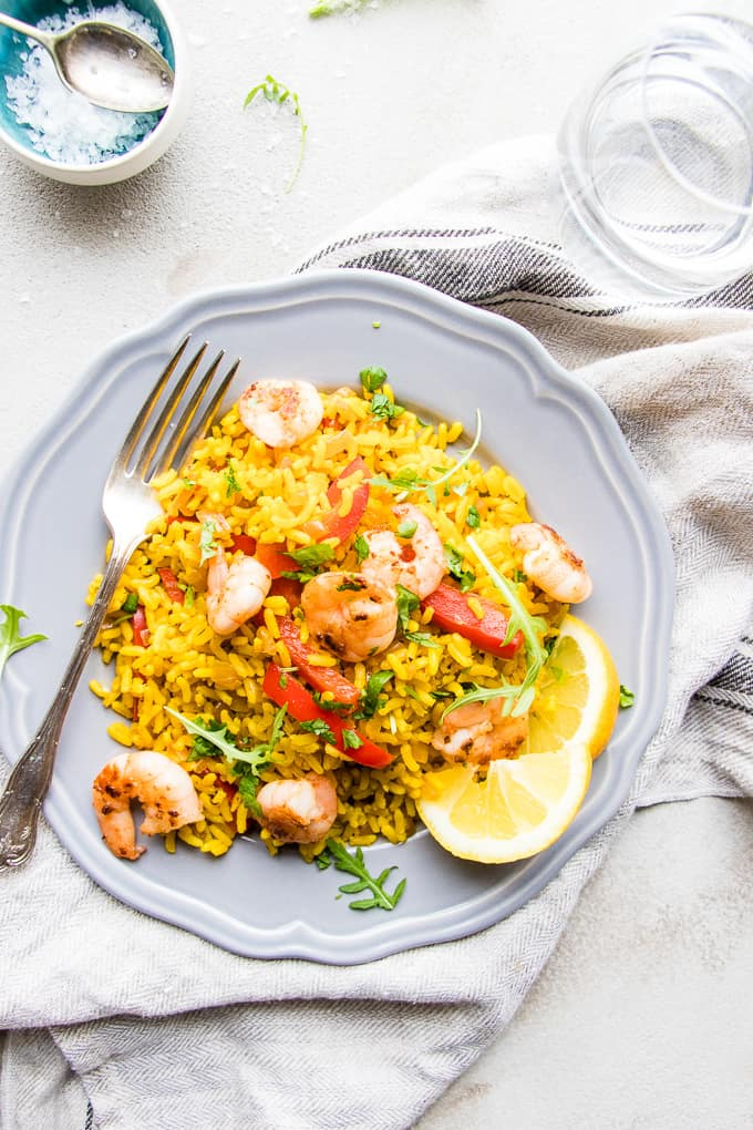 Shortcut Prawn Paella. A quick one pot dinner that's diet friendly.