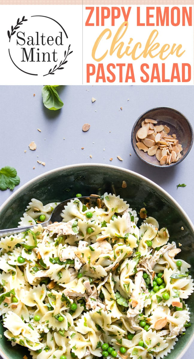 This pasta salad is a healthy meal or side dish perfect for picnics and entertaining. With lemon chicken. It's an easy recipe that includes fresh vegetables and a light lemony vinaigrette dressing. #pastasalad #lemonchicken #salad #pasta