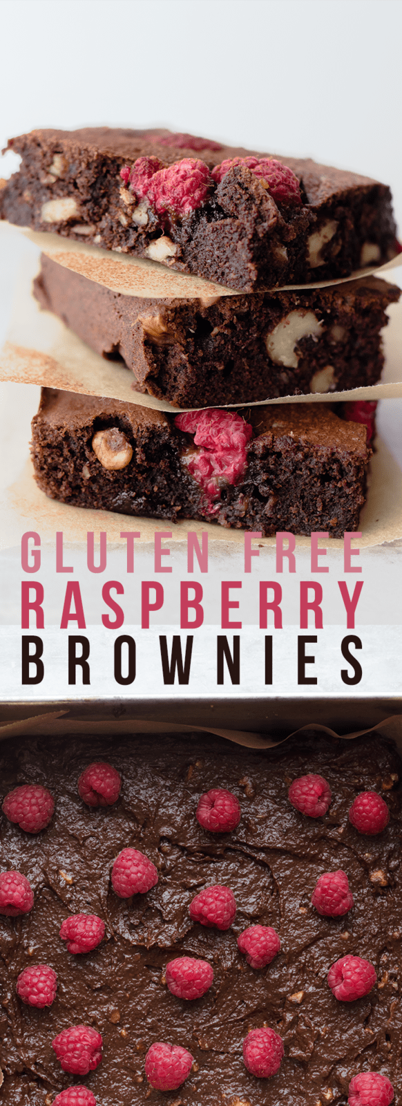 Rich and fudgey one bowl gluten free brownies loaded with fresh raspberries. Crispy outer edges and a soft, chewy and kinda gooey middle.