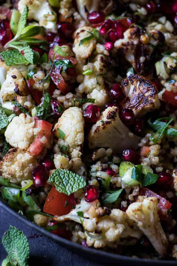 Roasted Cauliflower Tabbouleh | A hearty warm salad perfect for the middle of winter. Ready in 25 min.