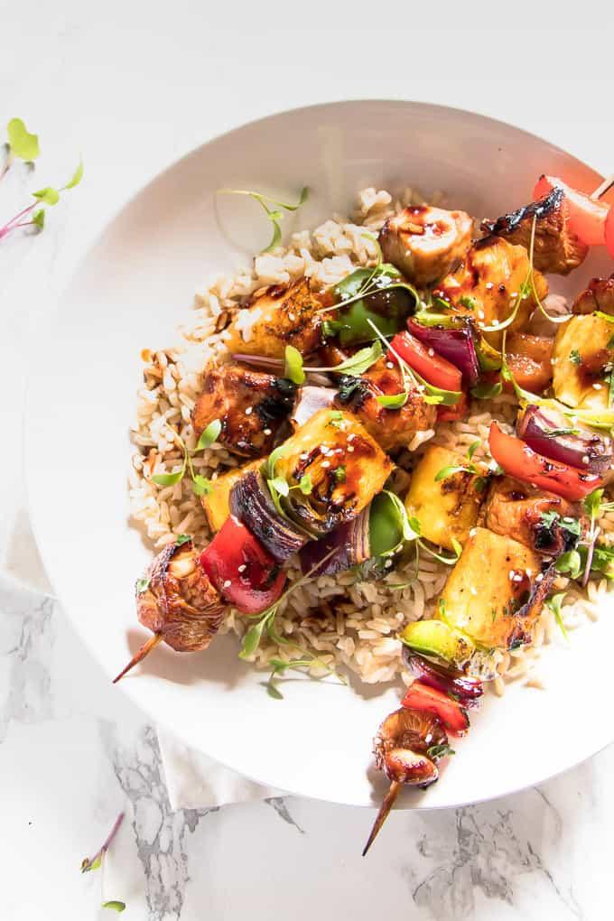 Teriyaki Grilled Chicken and Veggie Rice Bowls. Grilled juicy sweet pineapple, smokey chargrilled chicken and sticky sweet teriyaki sauce.