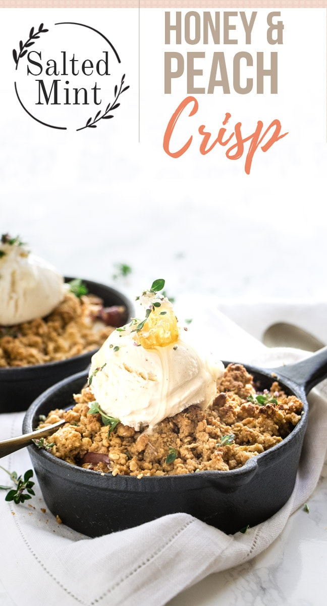 Easy and healthy peach crisp made with a buttery oatmeal topping. Makes the best of fresh peaches and vanilla ice cream. Perfect fall dessert. #dessert #falldessert #fruitdesserts