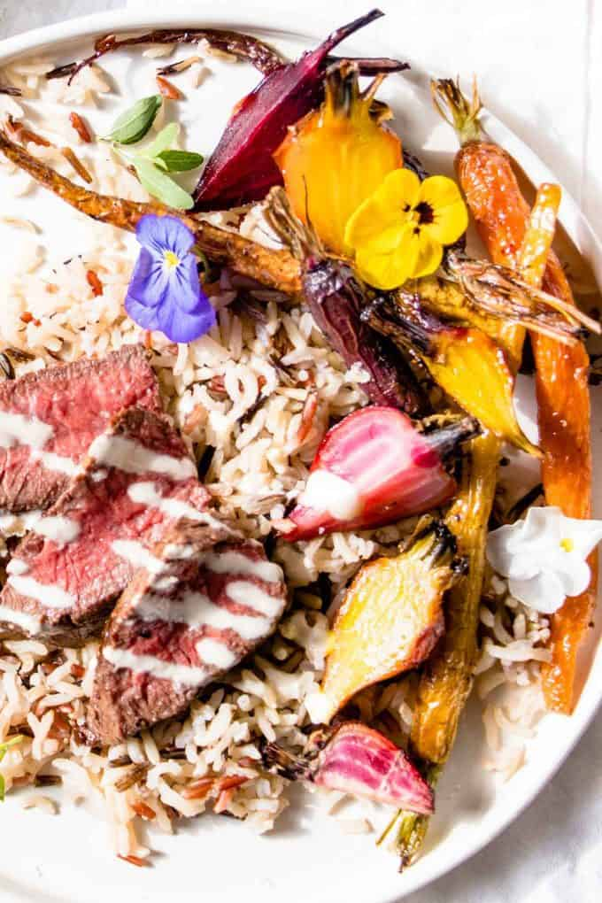 30 Minute Asian Beef. Lean Beef, low fat savoury miso sauce with wild rice and veggies.