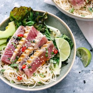 Pan Seared Asian Tuna Noodle Bowls