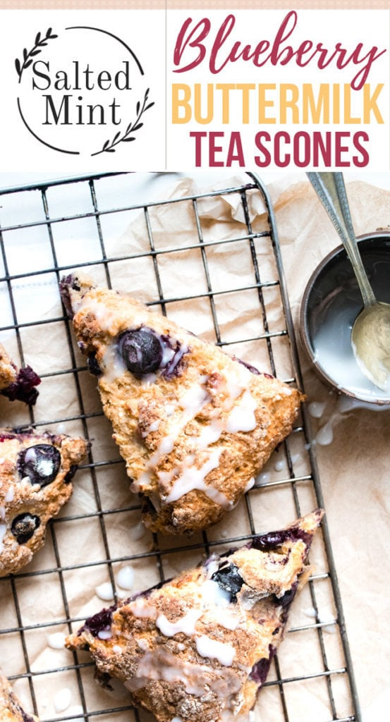Blueberry scones with lemon glaze and text overlay