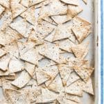 These whole grain homemade tortilla chips are the perfect healthy snack. They are crunchy, high in fibre and low in fat and have all the deliciousness of regular tortillas.