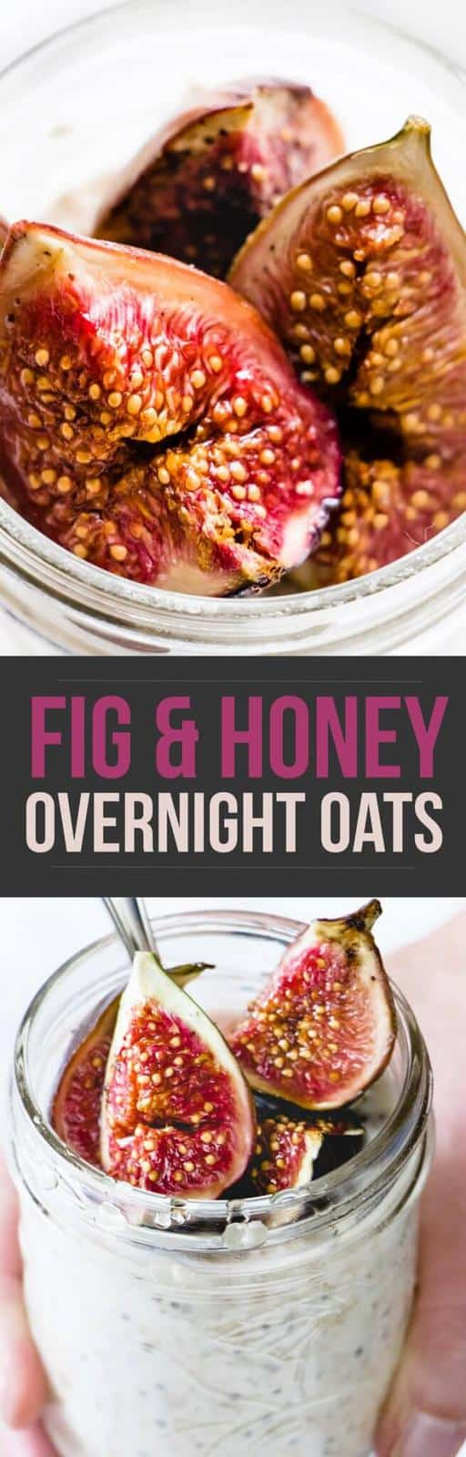 These fig & honey overnight oats are the perfect get up and go breakfast. They're creamy and sweet with a hint of salt and earthy sweet fig notes.