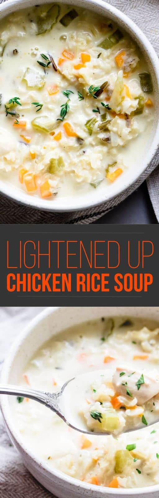 There's no better way to keep the fall wind at bay than to sit down and cozy up with this nourishing and hearty lightened up creamy chicken rice soup.