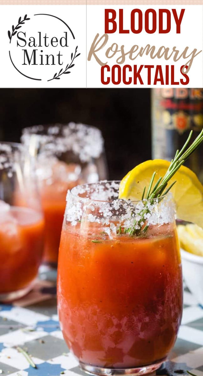 The is the best bloody Mary recipe ever. It's a classic cocktail with a twist. The rosemary brings out the classic tomato flavor and brings out the spiciness. #cocktails #entertaining #brunch #fallrecipes