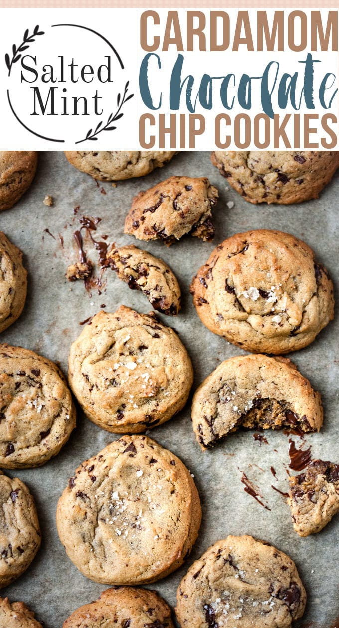 Soft, thick and chewy chocolate chip cookies with a hint of cardamom. These cookies are made even more decadent by using browned butter for an extra depth of flavor. But these are still an easy everyday recipe that's perfect for a hostess gift or makes a lovely homemade Christmas gift. #holidaybaking #Christmasrecipe #holidaycookies