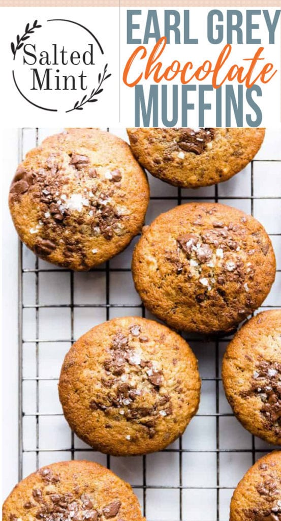 earl grey chocolate chip muffins with text overlay.