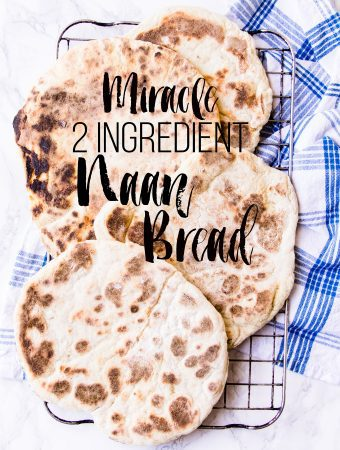 Miracle 2 ingredient naan bread creamy Greek yogurt mixed with fluffy self raising flour and a pinch of salt.