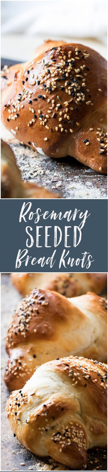 These rosemary seeded bread knots are  simple to make and are perfect for your holiday table or with a hearty soup. Made using a basic bread dough.
