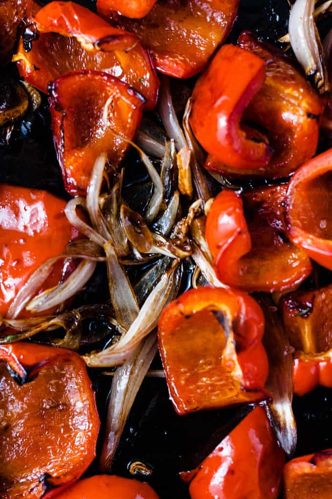 "This is a luscious sweet, savoury and a little smokey red pepper sauce only takes about 20 minutes. It also happens to be the perfect stand in for any tomato or ""red sauce"" that you could need."
