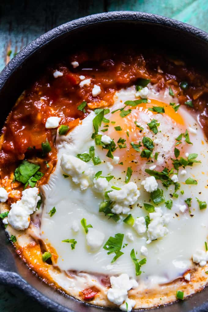 Spicy Turkish Style Baked Eggs (Shakshuka) | A super easy, spicy baked egg dish that's perfect for weeknight dinners.