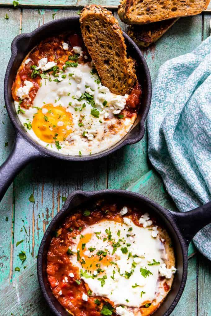 Spicy Turkish Style Baked Eggs (Shakshuka)