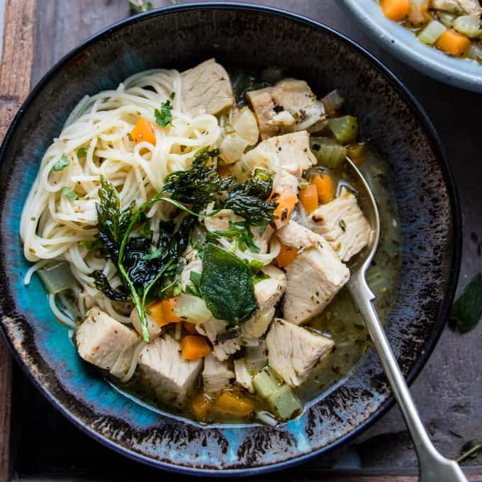 Italian Turkey and Vegetable Noodle Soup • Salted Mint