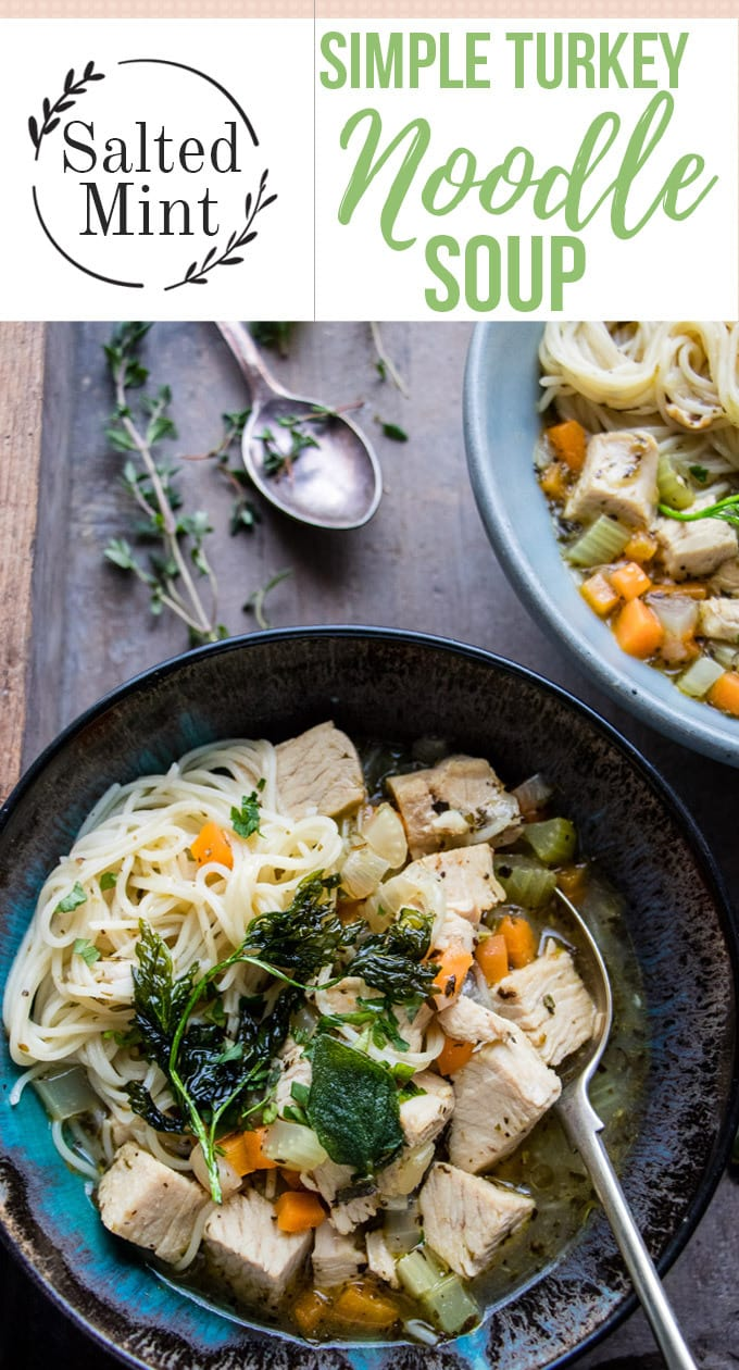 This homemade turkey noodle soup uses leftovers from Christmas or Thanksgiving. It's an easy healthy turkey (or chicken) noodle soup, full of herby flavor and lean protein. The best way to use leftovers. #soup #christmasrecipe #fallrecipe #thanksgiving
