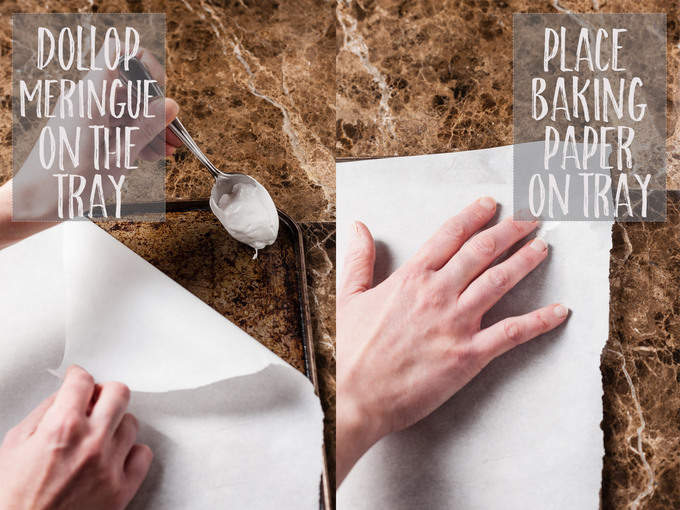 Lay the baking paper on the tray.