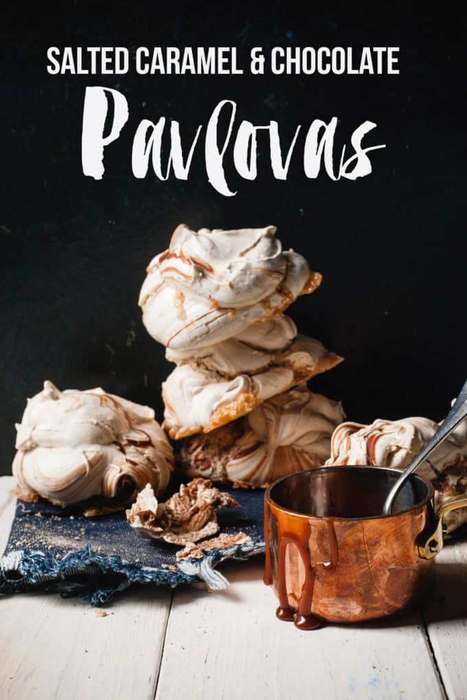 Meringues with Sauce and text overlay