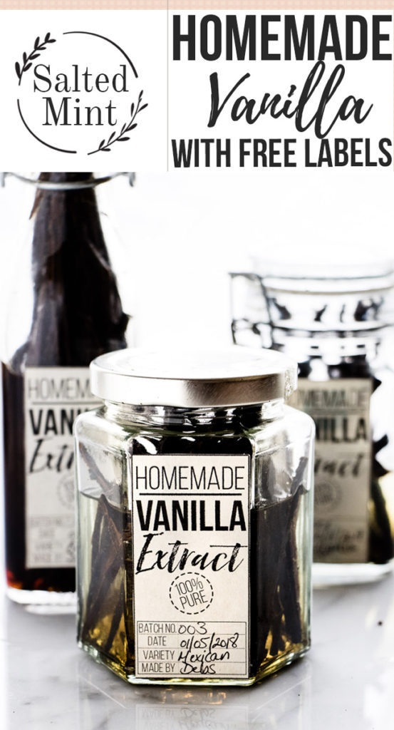 Bottle of homemade vanilla with label
