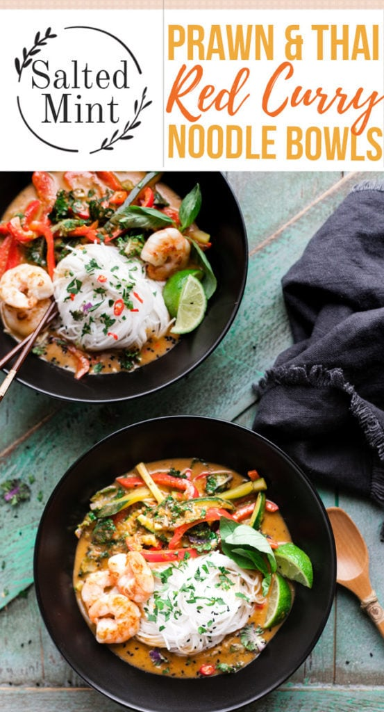 Prawn and thai red curry noodle bowls with text overlay.