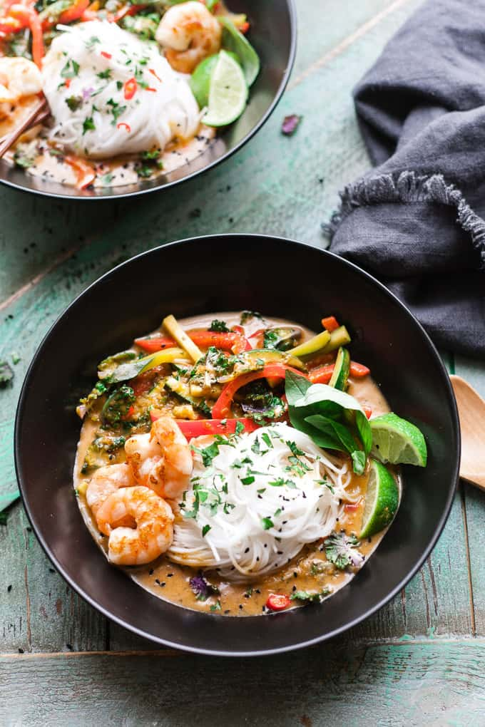 Bowls of Thai Red Curry Noodle Bowls