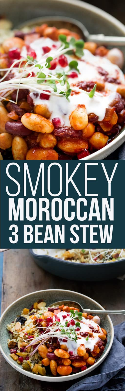 This smokey Moroccan 3 bean stew is hearty and warming. A protein packed vegan bowl of tomatoes, spices and beans brought together with spicy and rosy Harissa sauce. It's a 15 minute vegan dinner perfect for cold nights. #moroccan #onepotdinner #vegan #plantbased