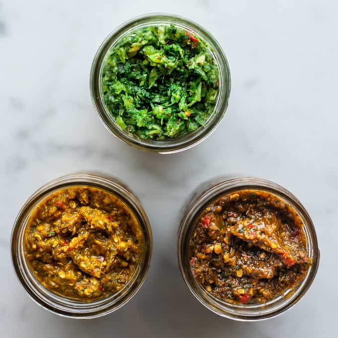 Homemade Thai Curry Paste in Jars.