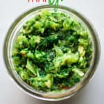Thai Green Curry paste in jar with text overlay
