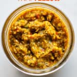 Thai yellow curry paste in jar