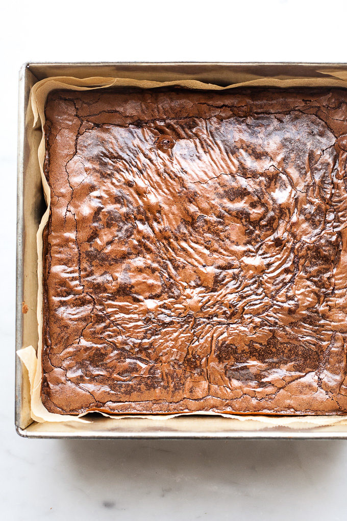 Pan of fudge brownies baked from scratch.