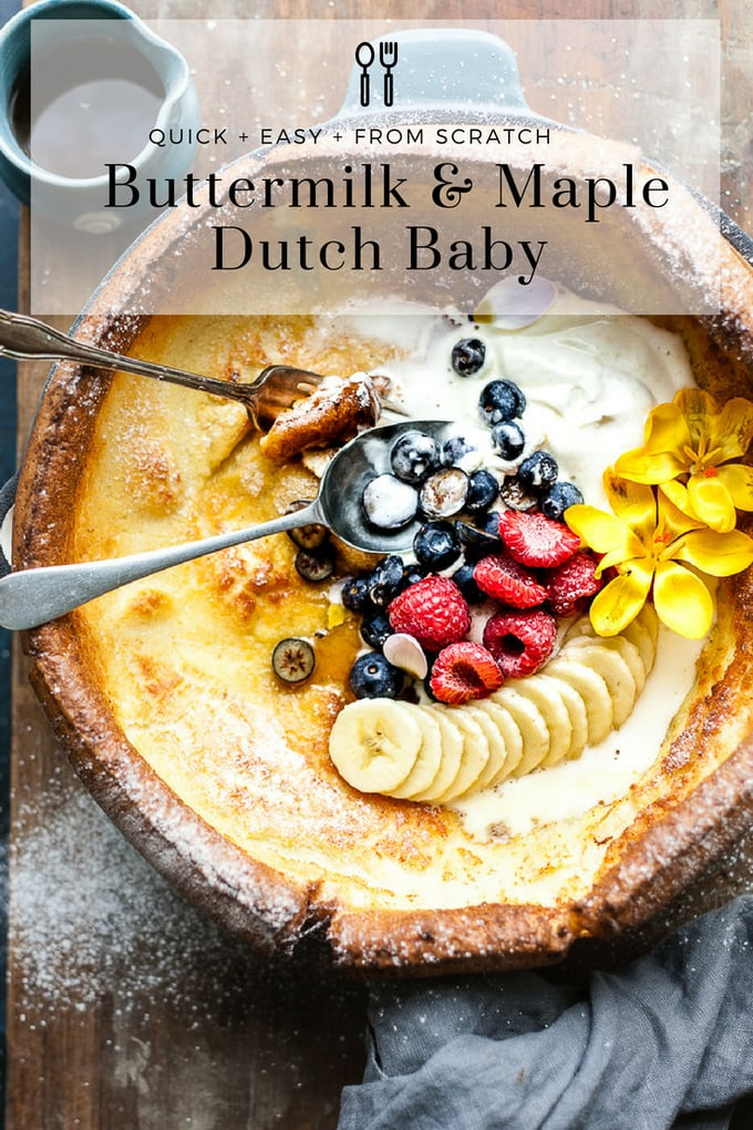 This Light and fluffy golden Dutch baby pancake is perfect for brunch or dessert. It's a farmhouse classic topped with sweet juicy fruit and silky whipped cream. #pancakes #dutchbaby #brunch