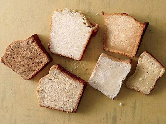 Slices of cake all made with different types of sugar