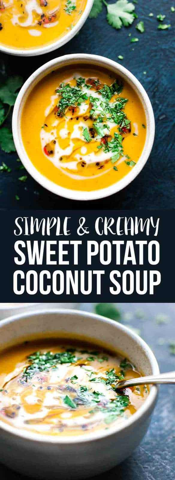 This Sweet potato coconut soup is quick and easy and completely healthy. Full of fragrant Thai curry flavours and super creamy coconut milk. SaltedMint.Com #soup #cleaneats #curry #healthy