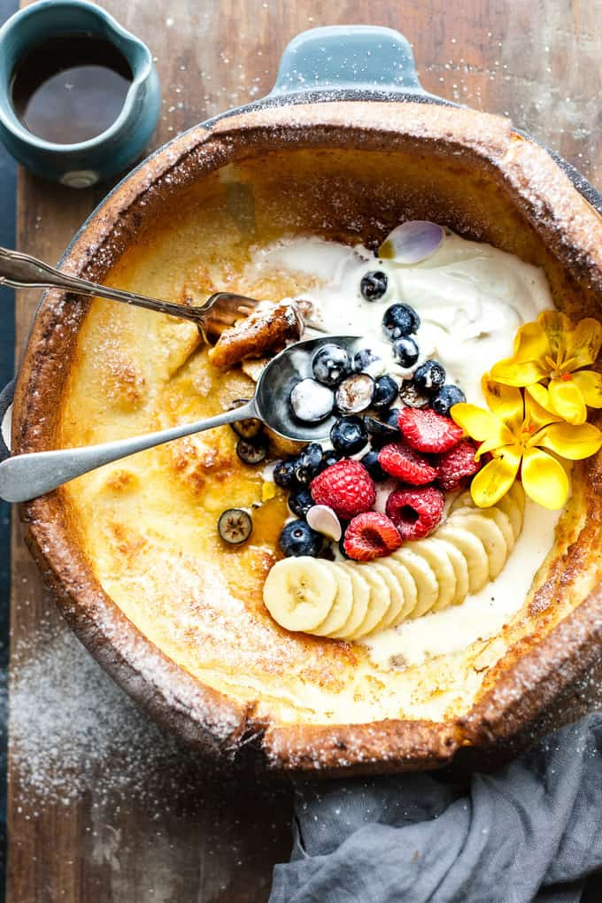 Dutch Baby Pancake with Cream and Fruit.