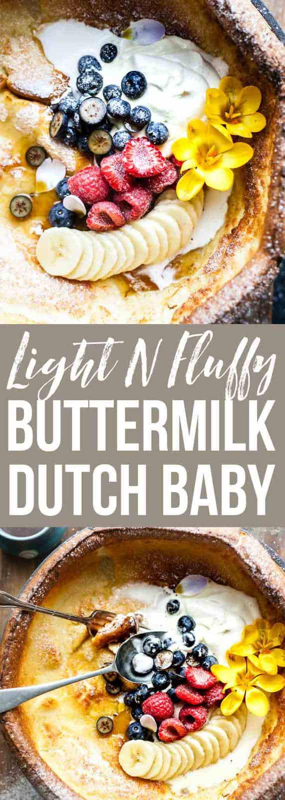 Light & Fluffy Golden, fluffy buttermilk Dutch baby pancake is the perfect simple pancake for a cosy weekend breakfast. #pancakes #Dutch_baby #breakfast
