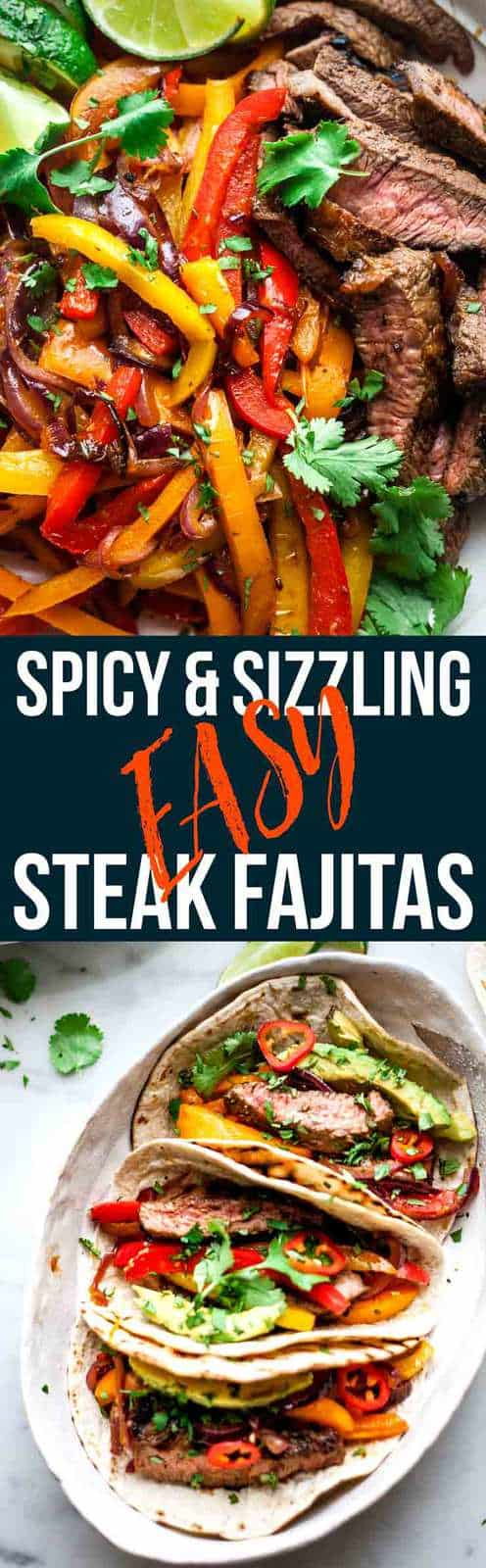 These easy beef fajitas will be a new family classic. Tender and juicy beef steak in a smokey and spicy homemade marinated. Grilled beef and veggies wrapped in soft tortillas with avocado and lime. Kitchen tested, family approved.