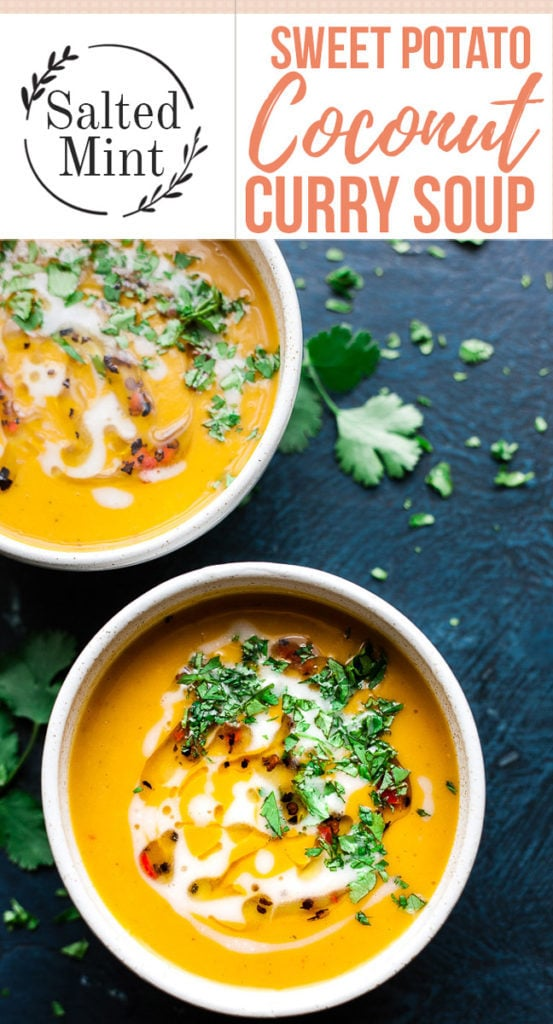 Thai yellow curry soup with coconut milk and text overlay.