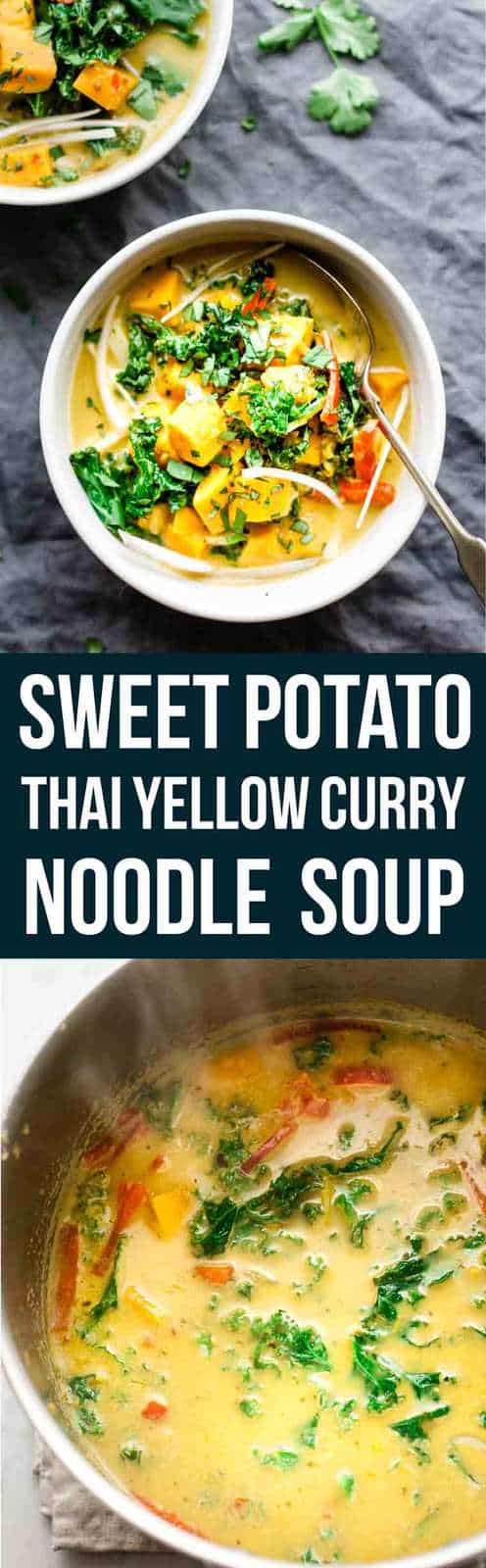 This Thai yellow curry sweet potato soup is a quick and simple soup that\'s high on flavour and low on fat. And it only takes 15 minutes. #healthy #soup #Thaicurry #curry #easyrecipe