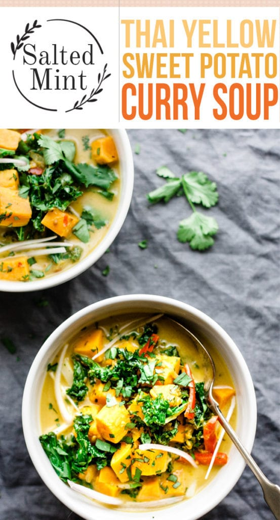 Thai yellow curry soup with sweet potatoes in a bowl.