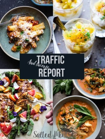 Collage of food images with text overlay for Salted Mint income report.