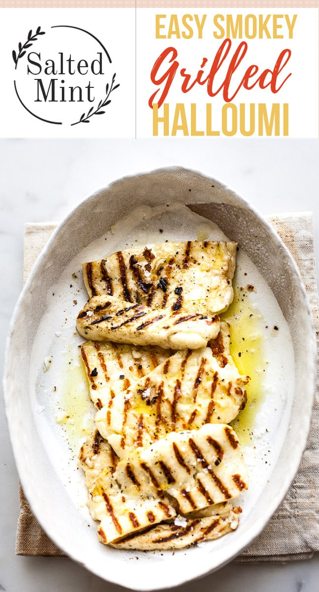 This healthy grilled halloumi is the perfect addition to salads, wraps, burgers and any lunch or dinner. So easy to make. #halloumi #vegetarian #lunch #easyrecipe