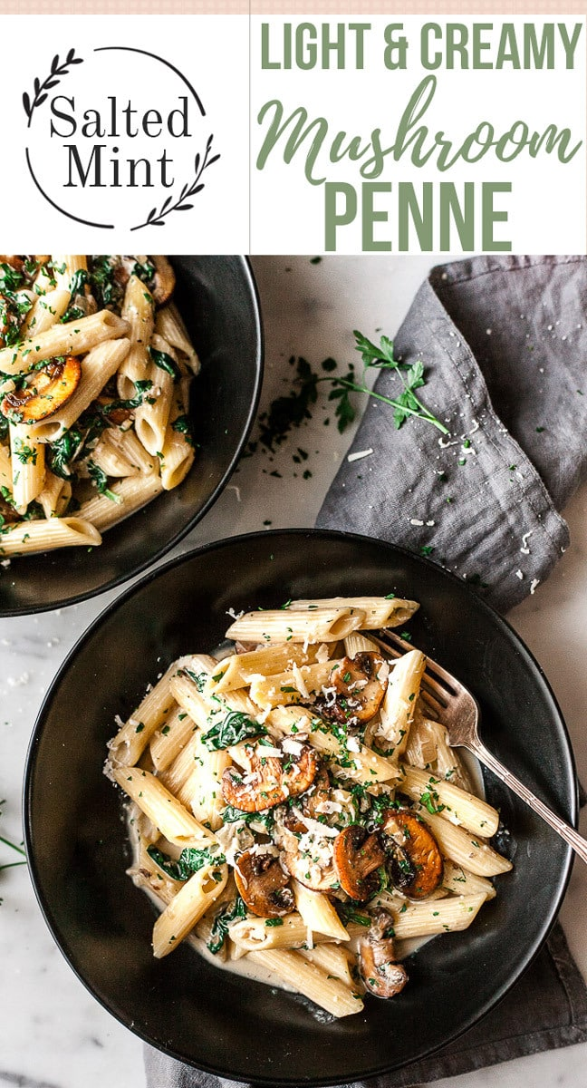 Creamy, garlicky, one pan mushrooms pasta. Basic ingredients and only 30 minutes to make. Vegetarian. #pasta #healthy #dinner #mushrooms #vegetarian