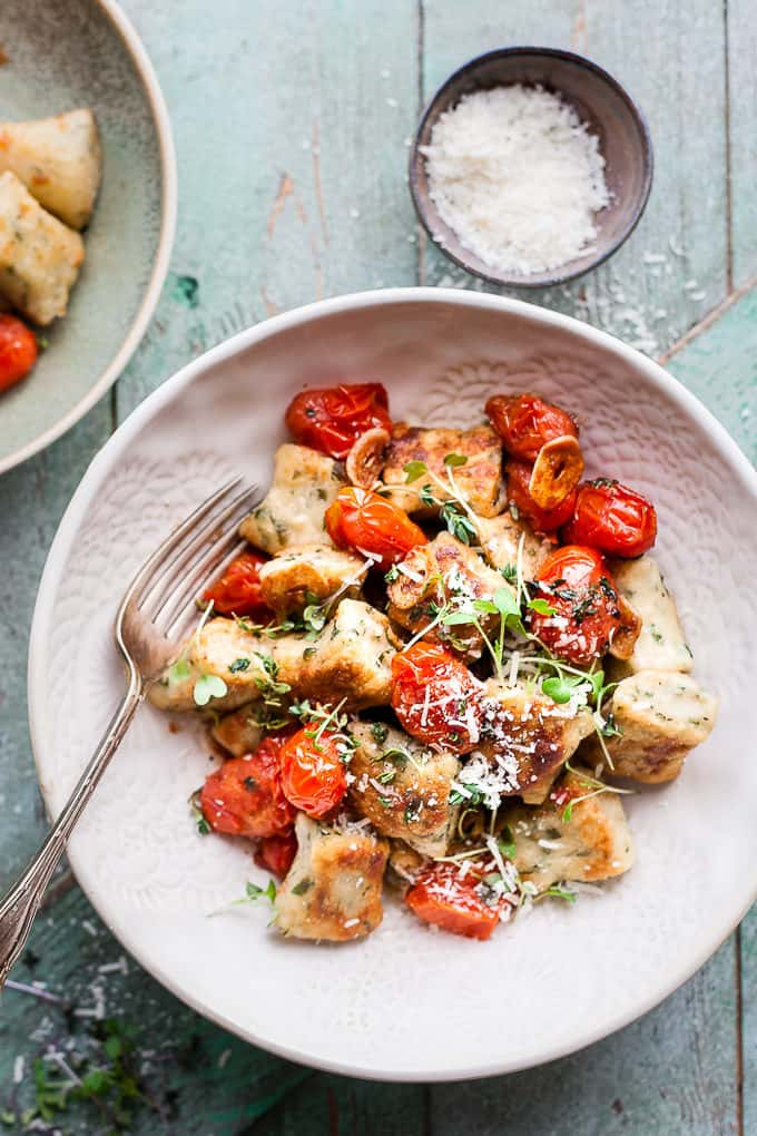30 Minute Ricotta Gnocchi with Herb Roasted Tomatoes