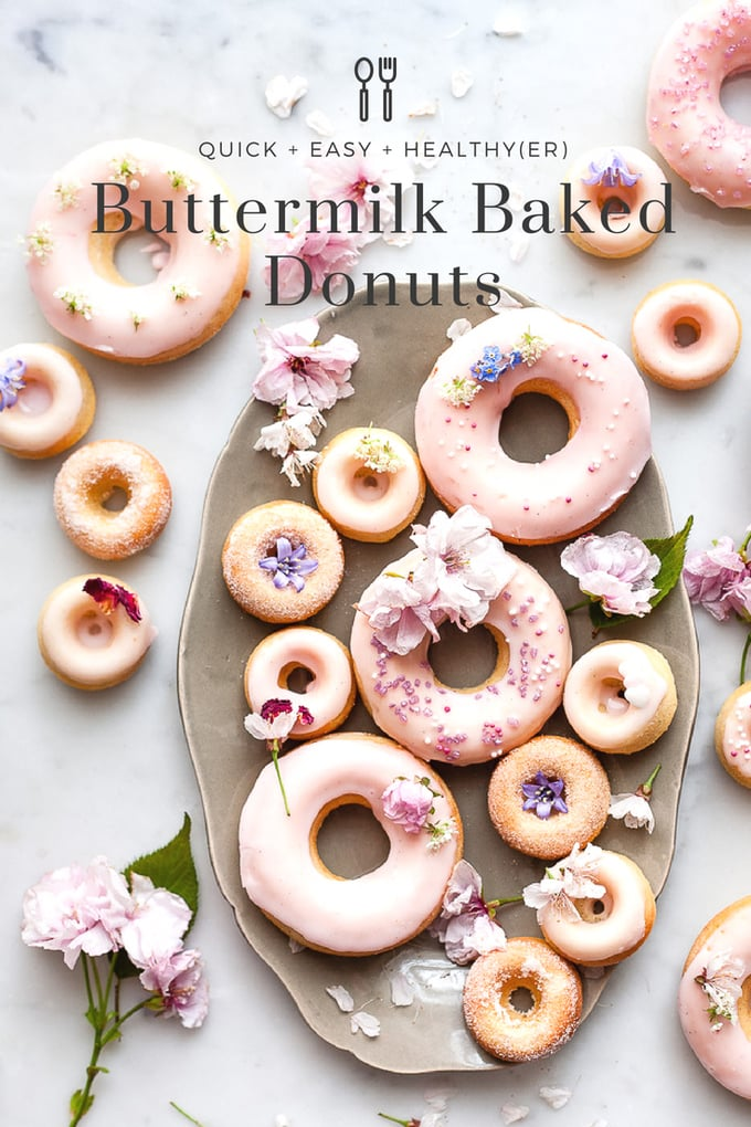 These simple vanilla and buttermilk baked donuts are a mix of old fashioned nostalgia and modern healthy(er) treat. Tender crumb and old fashioned milk glaze. #donuts #bakeddonuts #healthytreats