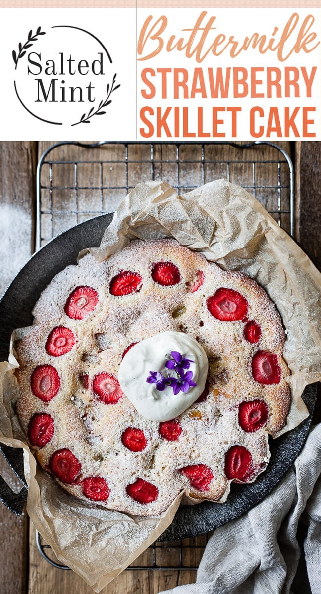This is an easy strawberry cake made from scratch in a skillet. Perfect simple farmhouse style dessert. #cake #snack #strawberrydessert #dessertmasters